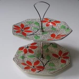 Leighton Pottery Hand Painted Two Tier Cake Stand