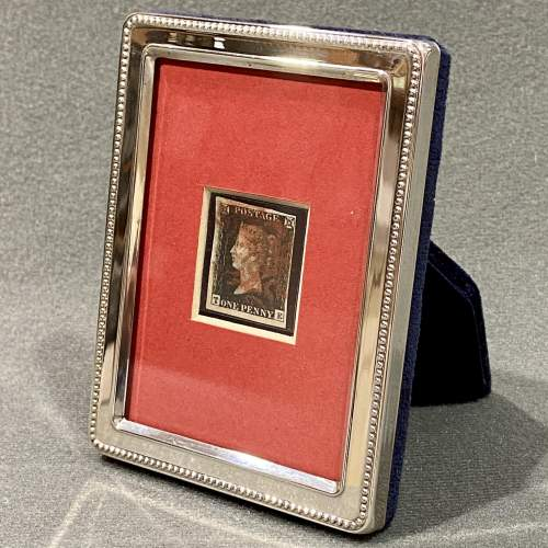 Sterling Silver Framed 4 Margin Penny Black Stamp image-1