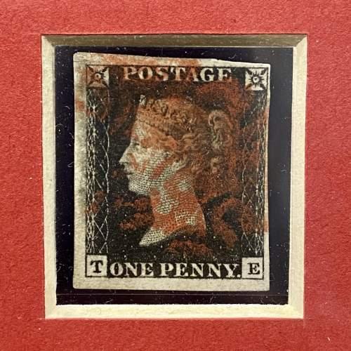 Sterling Silver Framed 4 Margin Penny Black Stamp image-2