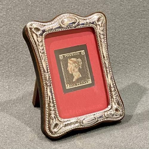 Silver Framed 4 Margin Penny Black Stamp image-1