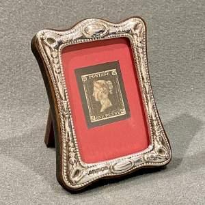 Silver Framed 4 Margin Penny Black Stamp