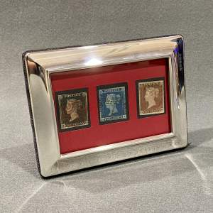 Silver Framed Penny Black Penny Red and Two Pence Blue