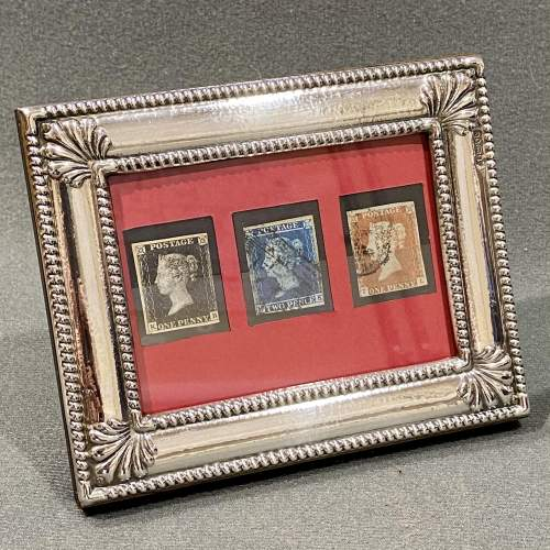 Fine Silver Framed Penny Black Penny Red and Two Pence Blue image-1