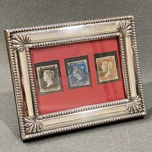 Fine Silver Framed Penny Black Penny Red and Two Pence Blue