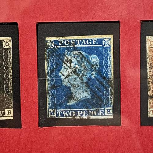 Fine Silver Framed Penny Black Penny Red and Two Pence Blue image-3