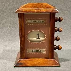 Small Edwardian Mahogany Perpetual Desk Calendar