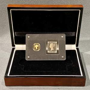 Cased 175th Anniversary of  Penny Black Gold Coin and Stamp