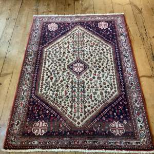 Old Hand Knotted Persian Rug Abadeh With Nice Abrash