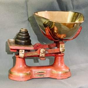 E.J Booth Red Painted Shop Scales
