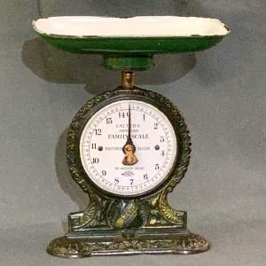 Green Painted Salter Scales with Enamel Face and Pan