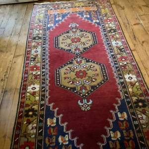 Superb Old Hand Knotted Turkish Rug Yahyali Double Medallion