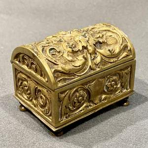 Chest Shaped Brass Table Vesta Box