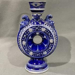 19th Century German Westerwald Salt Glaze Stonewave Ring Vase