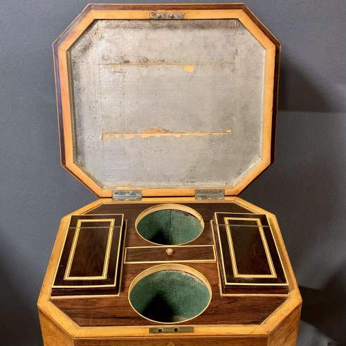 Regency Period Rosewood Inlaid Teapoy image-2
