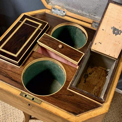 Regency Period Rosewood Inlaid Teapoy image-3