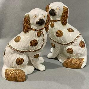 Pair of Early 20th Century Lustre Staffordshire Dogs