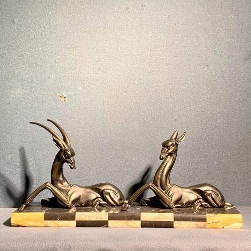French Art Deco Bronzed Spelter Statue Of Two Gazelles image-1