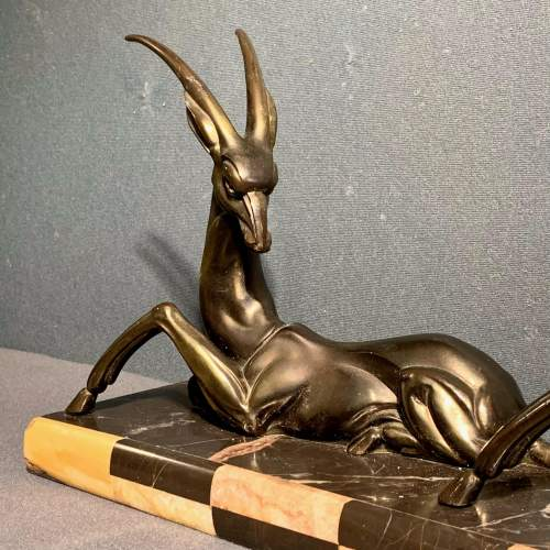 French Art Deco Bronzed Spelter Statue Of Two Gazelles image-2
