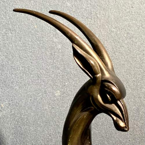 French Art Deco Bronzed Spelter Statue Of Two Gazelles image-4