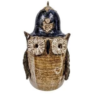 Studio Pottery Stoneware Owl as a Policeman