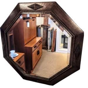 Mid 20th Century Octagonal Wood Framed Mirror