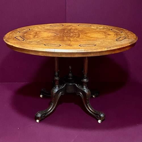 Victorian Inlaid Walnut Breakfast Table image-1