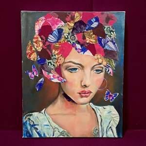 Patricia Bowditch Mixed Media Oil On Canvas Portrait