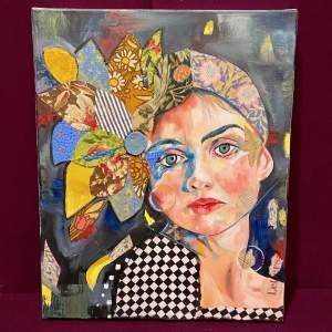 Patricia Bowditch Oil On Canvas Mixed Media Portrait