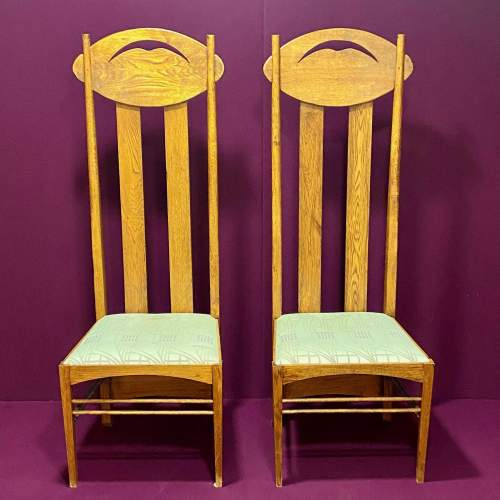 Charles Rennie Mackintosh Inspired Pair of High Back Chairs image-2