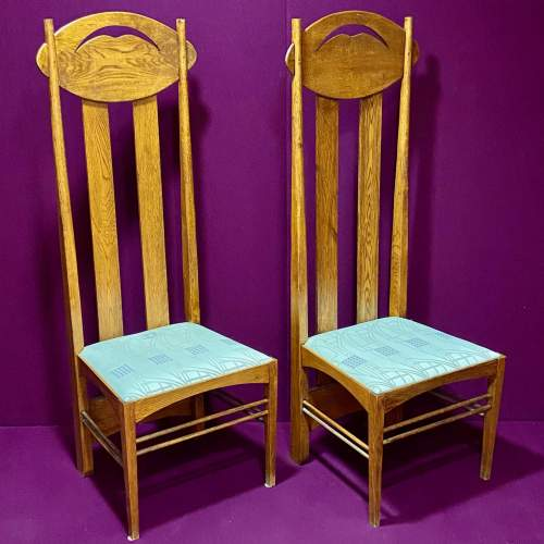 Charles Rennie Mackintosh Inspired Pair of High Back Chairs image-1
