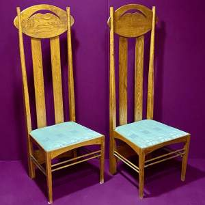 Charles Rennie Mackintosh Inspired Pair of High Back Chairs