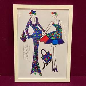 Framed Fashion Illustration by R Jennings