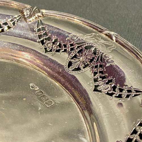 Edwardian Solid Silver Pierced Plate image-3