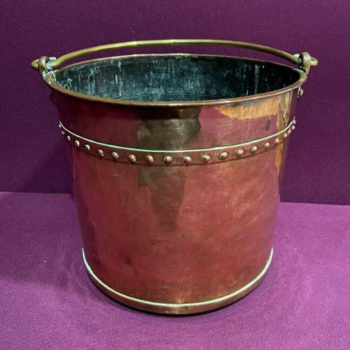 19th Century Copper and Brass Peat Bucket image-1