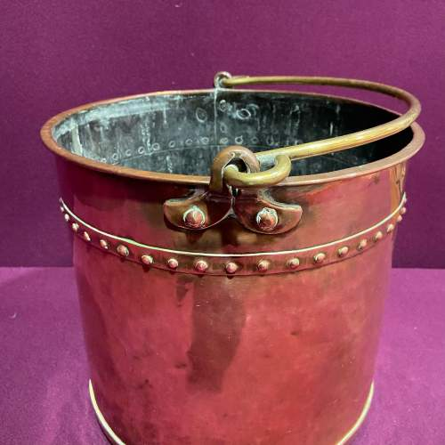 19th Century Copper and Brass Peat Bucket image-2