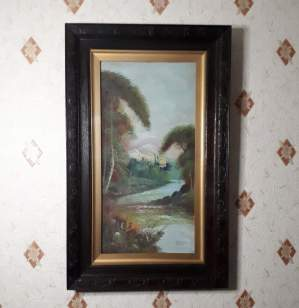 Late Victorian Oil on Board Painting - Loch Doone