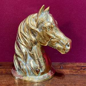 Cast Brass Horse Head Sculpture