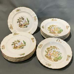 Set of Six Gilt Edged Limoges Dinner Plates and Six Soup Dishes