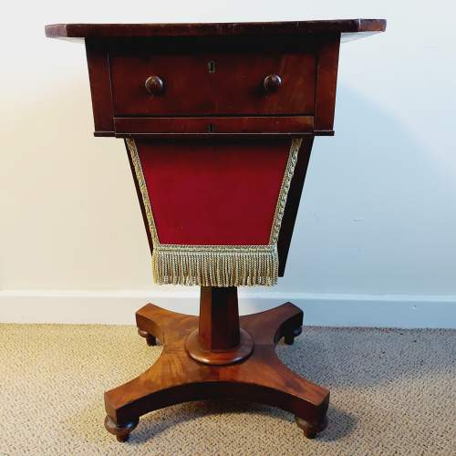 Victorian Walnut and Mahogany Sewing Table image-1