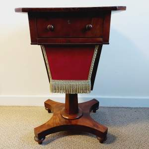 Victorian Walnut and Mahogany Sewing Table