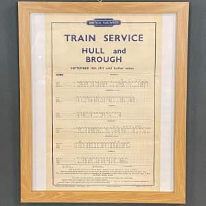 Original 1951 British Railways Hull and Brough Timetable
