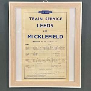 Original 1951 British Railways Leeds and Micklefield Timetable