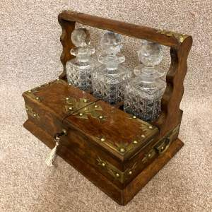19th Century Oak Three Bottle Tantalus