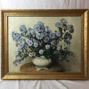 Bartram Leigh Signed Beautiful Antique Still Life Oil Painting