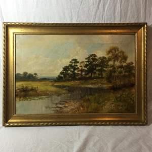 Fine Antique River Landscape Signed Oil Painting on Canvas