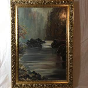 20th Century River Landscape Painted in Oils on Panel in a Gilt Frame