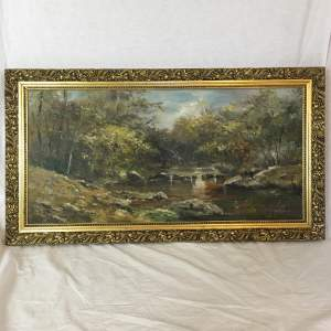 Attractive Old 20th Century River Landscape Painted in Oils on Panel
