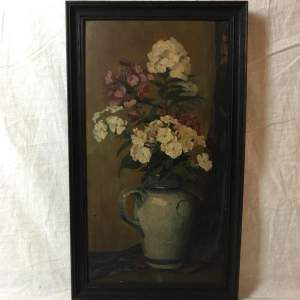 Jean Saltfleet Signed Still Life Oil Painting of Flowers in a Jug