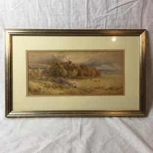 Finely Painted Watercolour Landscape of Herstmonceux Castle