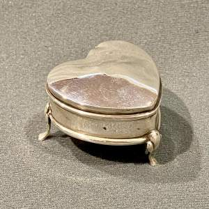 Early 20th Century Heart Shaped Silver Trinket Box